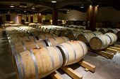 picture of wine cellar  - Wine barrels stacked in the old cellar of the winery Bulgaria - JPG