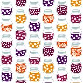 stock photo of jar jelly  - Fun seamless pattern with the colorful fruit jam jars - JPG