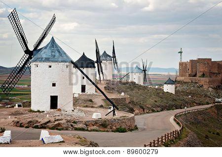 View of windmills in Consuegra, Spain