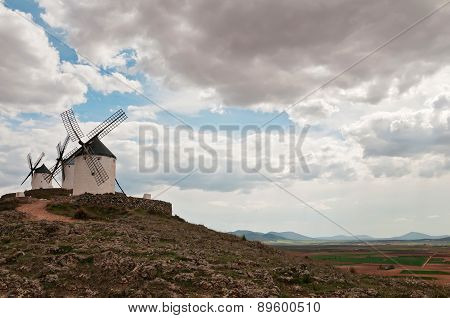 Traditional white windmills in Consuegra, Spain