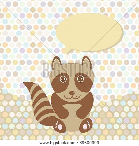 Polka Dot Background, Pattern. Funny Cute Raccoon On Dot Background. Vector
