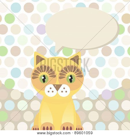 Polka Dot Background, Pattern. Funny Cute Red Cat On Dot Background. Vector