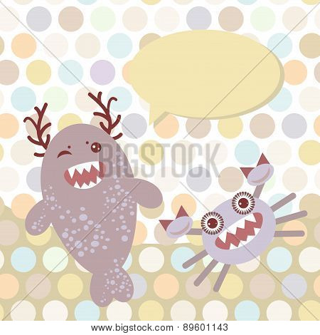 Polka Dot Background, Pattern. Funny Cute Monsters On Dot Background. Vector