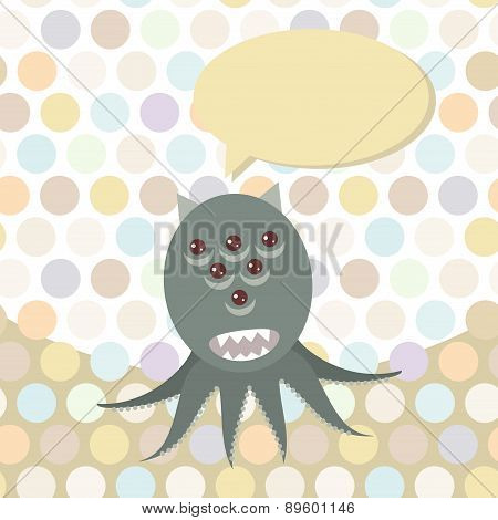 Polka Dot Background, Pattern. Funny Cute Octopus Monster On Dot Background. Vector