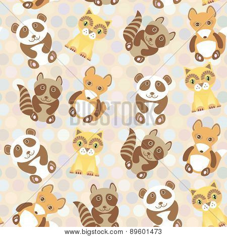 Polka Dot Background, Pattern. Funny Cute Raccoon, Panda, Fox, Cat On Dot Background. Vector