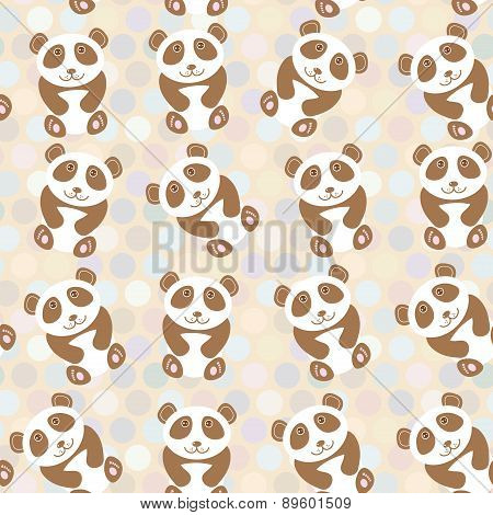 Polka Dot Background, Pattern. Funny Cute Panda On Dot Background. Vector