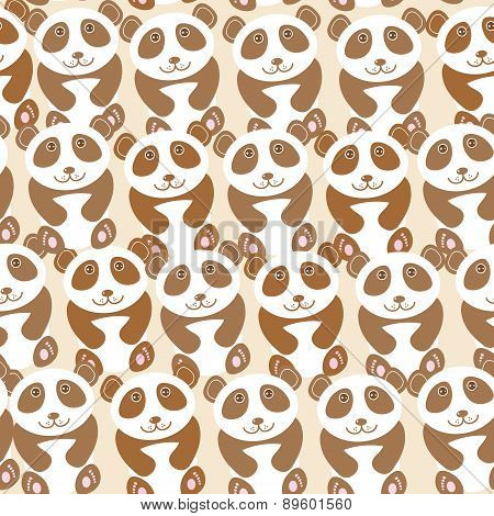 Funny Cute Panda Seamless Background, Pattern. Vector