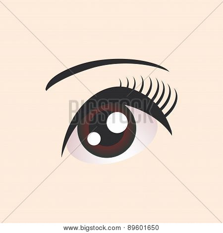 Beautiful Brown Female Eye On Beige Background. Vector