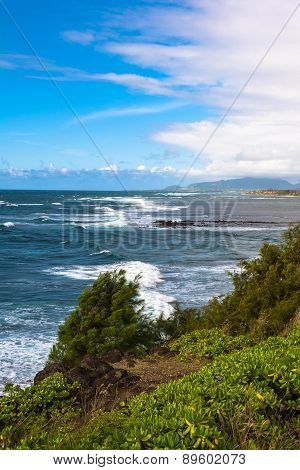 The coast along Wailua, Kauai, Hawaii
