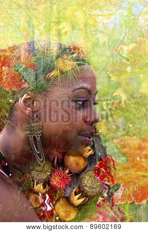 Double Exposure Portrait Of A Young Woman With Colorful Flowers