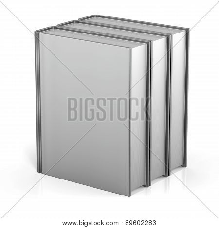 Book Blank Cover Standing Three White Textbook Archive Icon