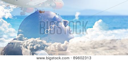 Double exposure image of young woman sunbathing and passenger jet