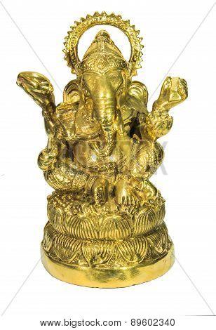 Gold Ganesha on white background