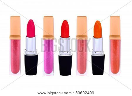 Beautiful Lip Glosses And Lip Sticks, Isolated On White
