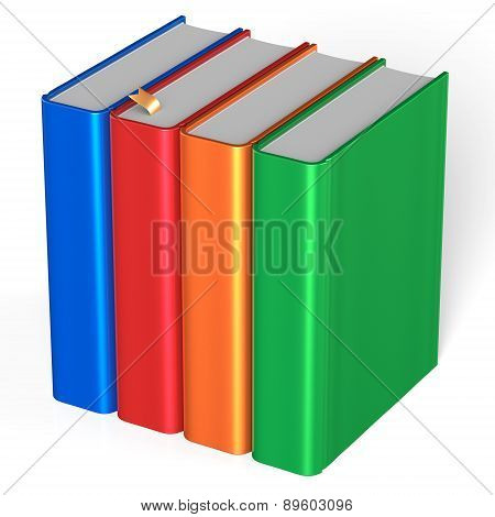Four Books Educational Textbooks Bookshelf Bookcase Blank