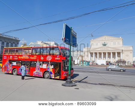 Tourist Streets Of Moscow And Sightseeing Bus