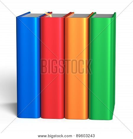 Books Blank Educational Four Textbook Bookshelf Colorful
