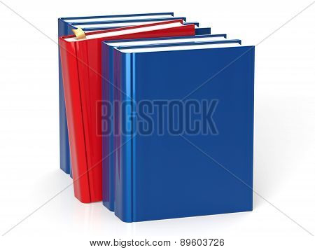 Selecting Book From Bookshelf Blank Blue Row One Red Choice