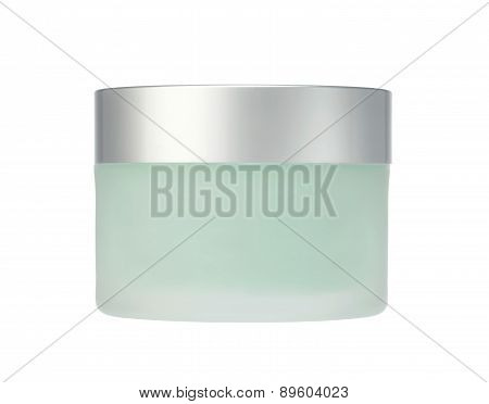 Glass Jar Of Face Cream Isolated On White