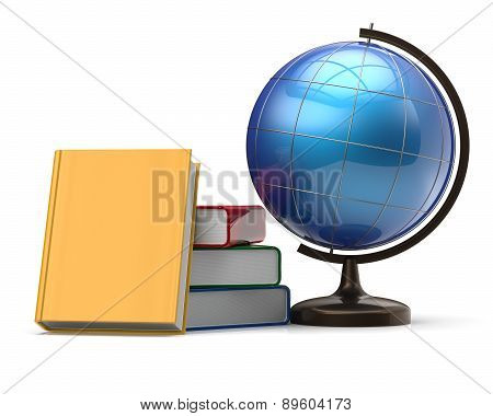 Globe And Books Blank International Global Geography Icon