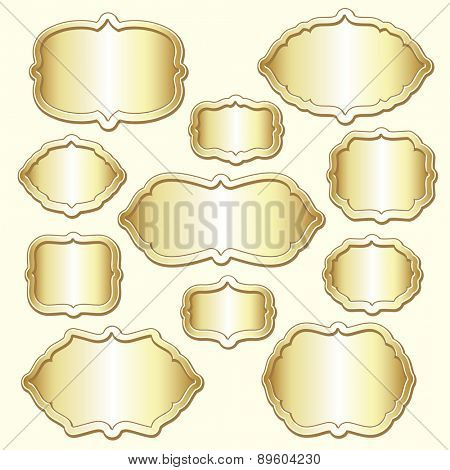 Set of vector decorative golden frames