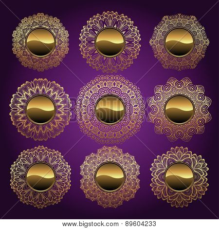 A collection of golden buttons with floral design, vector illustration