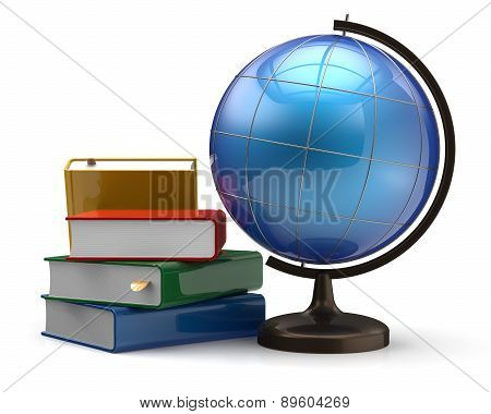 Globe And Books Blank Global International Geography Symbol