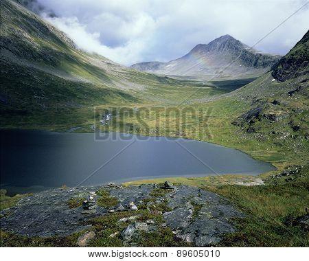 Beautiful lake on the way trolls, Norway