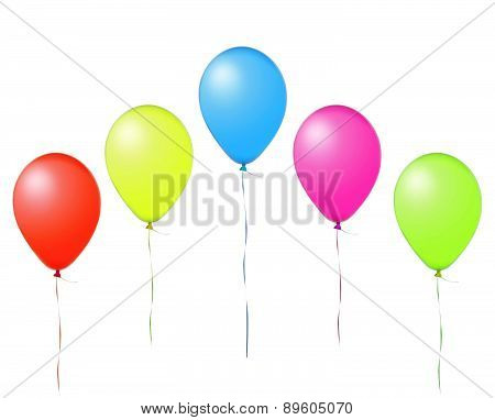 Colorful Flying Air Balloons Isolated On White