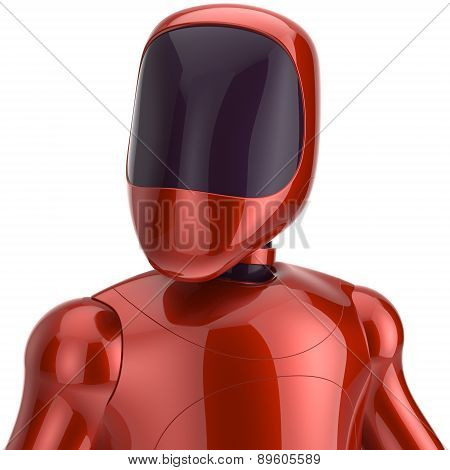 Red Robot Futuristic Cyborg Artificial Bot Android Avatar Icon