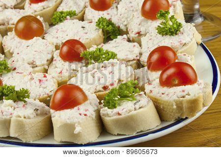 Home work quick meals, canapes with butter and vegetables