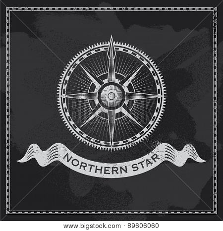 Vintage nautical compass. Chalkboard wind rose vector design.