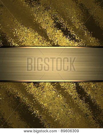 Abstract Rich Gold Background With Gold Nameplate. Element For Design. Template For Design.