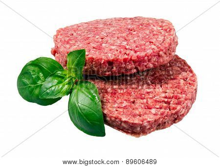 Hand Made From Minced Beef, Pork burgers patties isolated on white background