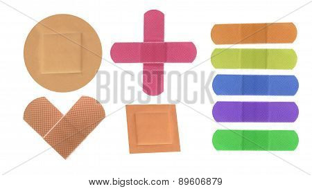 Colorful Medical Patches Isolated On White