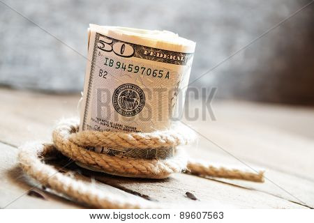 Fifty Dollar Bills And Rope