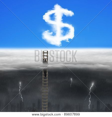 Businessman Climbing On Wooden Ladder For Dollar Sign Shape Clouds