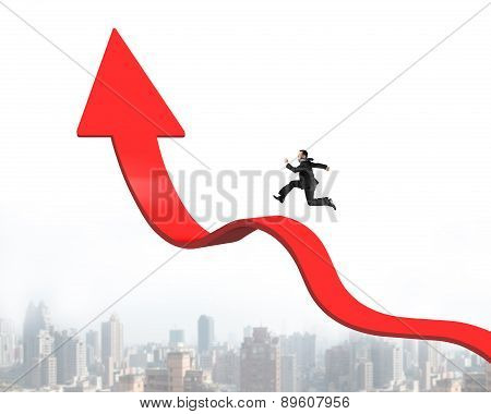 Businessman Running On Arrow Up Bending Trend Line With Cityscape