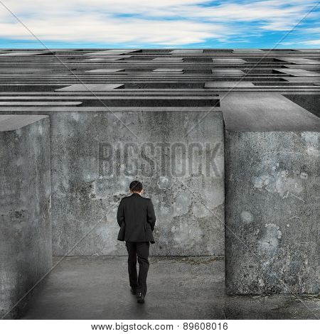 Businessman Walking Enter The Huge Maze With Blue Sky Clouds
