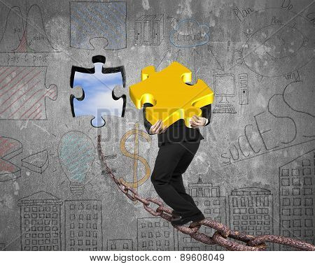 Businessman Carrying Gold Jigsaw Puzzle Piece Toward Hole With Sky