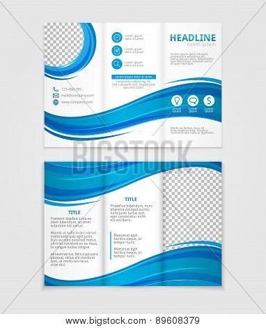 Brochure template design with blue wave elements