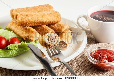 Croquettes With Meat And Beetroot Soup