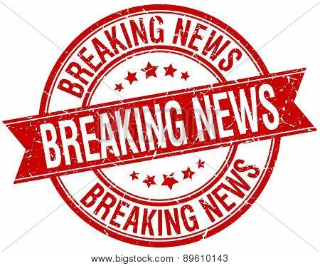 Breaking News Grunge Retro Red Isolated Ribbon Stamp