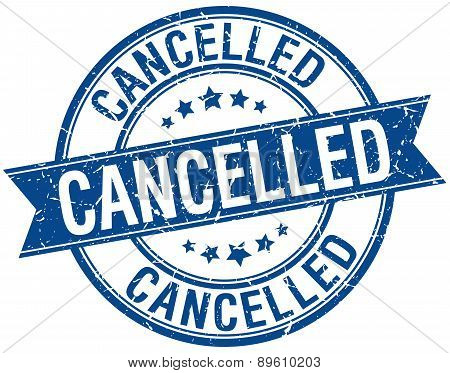 Cancelled Grunge Retro Blue Isolated Ribbon Stamp