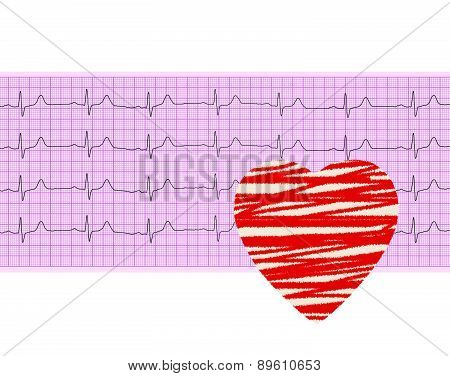 Heart Analysis, Electrocardiogram Graph (ecg) And Paper Heart