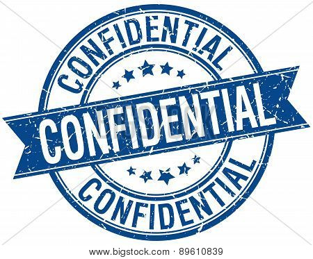 Confidential Grunge Retro Blue Isolated Ribbon Stamp