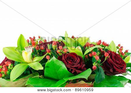 Bouquet Of Roses In Red Package
