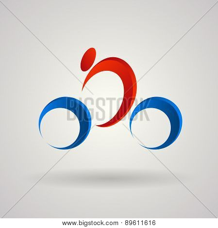 Vector logo design template. Racing cyclist in gradient and 3d style. Cycling road, sportsmen on whi