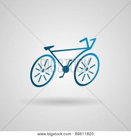 Vector logo design template. Silhouette of bicycle in gradient style. Isolated vector on white backg