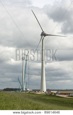 Construction of a modern windmill in the Netherlands
